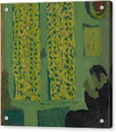 The Green Interior  Figure Seated By A Curtained Window   Acrylic Print