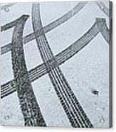 Tire Tracks In Snow, Winter Acrylic Print