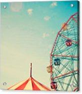 Vintage Colorful Ferris Wheel Over Blue Acrylic Print