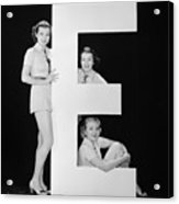 Women Posing With Huge Letter E Acrylic Print
