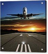 Xl Jet Airplane Landing At Sunset Acrylic Print