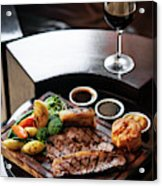 Sunday Roast Beef Traditional British Meal Set On Table Acrylic Print