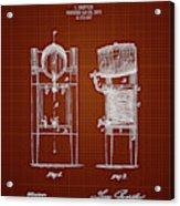 1876 Brewing Cooler - Dark Red Blueprint Acrylic Print