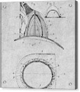 1889 Hopkins Fireman's Hat Gray Patent Print Acrylic Print