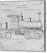 1891 Huber Locomotive Engine Gray Patent Print Acrylic Print