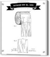 1891 Toilet Paper Roll - Black Retro Style Acrylic Print
