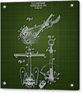 1892 Ships Anchor - Dark Green Blueprint Acrylic Print