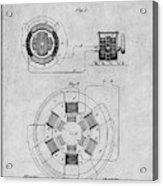 1896 Tesla Alternating Motor Gray Patent Print Acrylic Print
