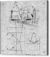 1905 Horse Blanket Patent Print Gray Acrylic Print