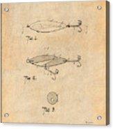 1909 Lockhart Antique Fishing Lure Antique Paper Patent Print Acrylic Print