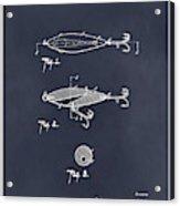 1909 Lockhart Antique Fishing Lure Blackboard Patent Print  Acrylic Print