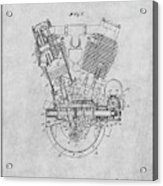 1914 Spacke V Twin Motorcycle Engine Gray Patent Print Acrylic Print