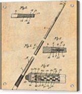 1917 Billiard Pool Cue Antique Paper Patent Print Acrylic Print