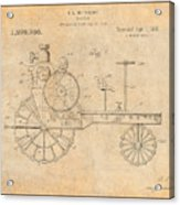 1919 Antique Tractor Antique Paper Patent Print Acrylic Print