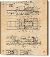 1925 Turbine Driven Locomotive Antique Paper Patent Print  Acrylic Print