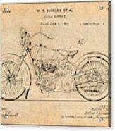 1928 Harley Davidson Motorcycle Antique Paper Patent Print Acrylic Print