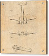 1934 Lockheed Model 10 Electra Airliner Patent Antique Paper Acrylic Print