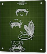 1936 Toilet Seat - Dark Green Blueprint Acrylic Print