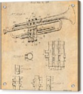 1937 Trumpet Antique Paper Patent Print Acrylic Print