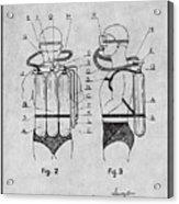 1947 Jacques Cousteau Diving Suit Patent Print Gray Acrylic Print