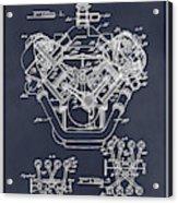 1954 Chrysler 426 Hemi V8 Engine Blackboard Patent Print Acrylic Print
