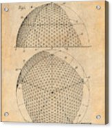 1954 Geodesic Dome Antique Paper Patent Print Acrylic Print