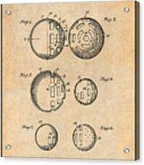 1954 Wiffle Ball Patent Print Antique Paper Acrylic Print