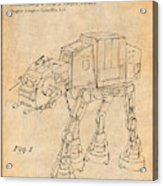 1982 Star Wars At-at Imperial Walker Antique Paper Patent Print Acrylic Print