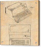 1983 Steve Jobs Apple Personal Computer Antique Paper Patent Print Acrylic Print