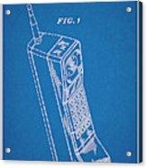 1988 Motorola Cell Phone Blueprint Patent Print Acrylic Print