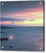 A Catamaran In Honolua Bay At Sunset, Maui, Hawaii Acrylic Print
