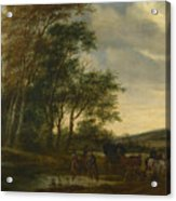 A Landscape With A Carriage And Horsemen At A Pool  Acrylic Print