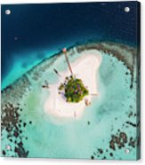 Aerial Drone View Of A Tropical Island, Maldives Acrylic Print