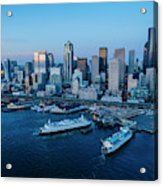 Aerial View Of A City, Seattle, King Acrylic Print