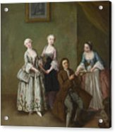 An Interior With Three Women And A Seated Man  Acrylic Print