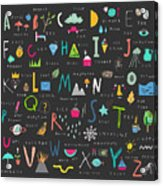 Cute Alphabet. Letters And Words. Learn Acrylic Print