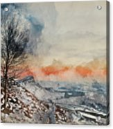 Digital Watercolor Painting Of Beautiful Winter Landscape At Vib Acrylic Print