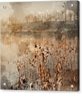 Digital Watercolor Painting Of Landscape Of Lake In Mist With Su Acrylic Print