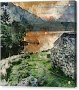 Digital Watercolor Painting Of Panorama Landscape Stunning Sunri Acrylic Print