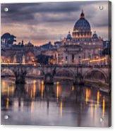 Illuminated Bridge In Rome, Italy Acrylic Print
