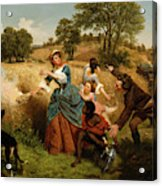 Mrs  Schuyler Burning Her Wheat Fields On The Approach Of The British  Acrylic Print