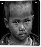 Nepal Monochrome Portraits Of Children (series) Acrylic Print