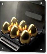 Six Golden Eggs In An Egg Carton Acrylic Print
