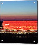 Soccer Stadium Lit Up At Dusk, Allianz Acrylic Print