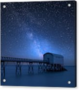Vibrant Milky Way Composite Image Over Landscape Of Long Exposur Acrylic Print