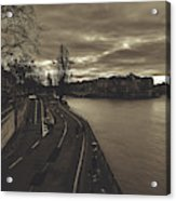 Walking Along The Seine At Sunset Acrylic Print
