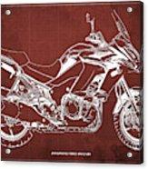 2018 Kawasaki Versys 1000 Lt Abs Blueprint Old Vintage Red Background Original Artwork Acrylic Print