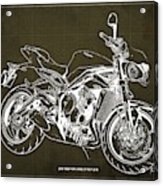 2018 Triumph Street Triple R Blueprint, Vintage Brown Background,gift For Him Acrylic Print