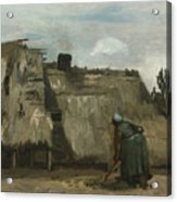 A Peasant Woman Digging In Front Of Her Cottage Acrylic Print