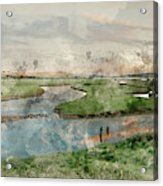Digital Watercolor Painting Of Beautiful Dawn Landscape Over Eng Acrylic Print